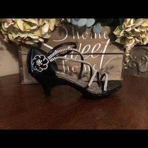 Black strappy rhinestone heels